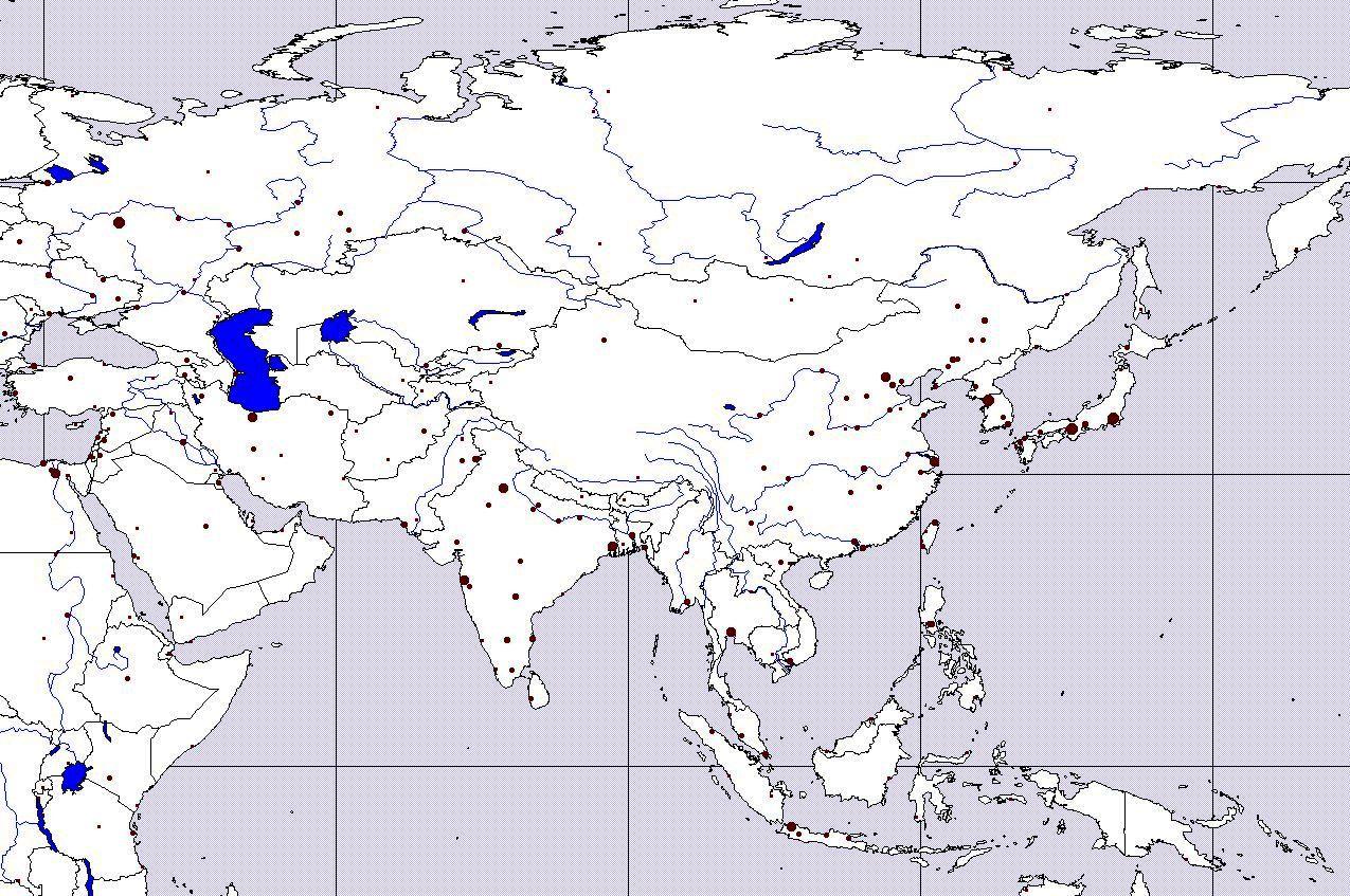 Slepa Mapa Asie