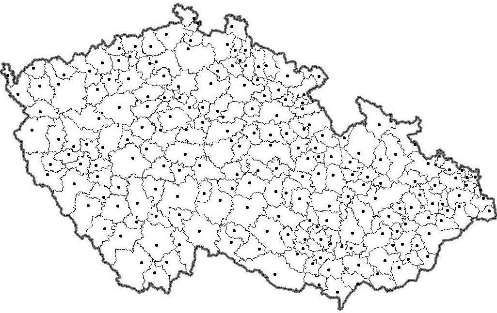 Slepa Mapa Okresu S Rozsirenou Pusobnosti Cr S Obcemi